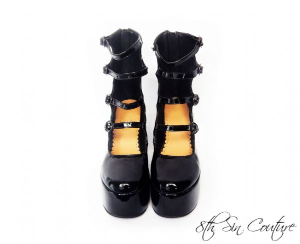 "Black ""New Heights"" Patent Leather Platform Heels"